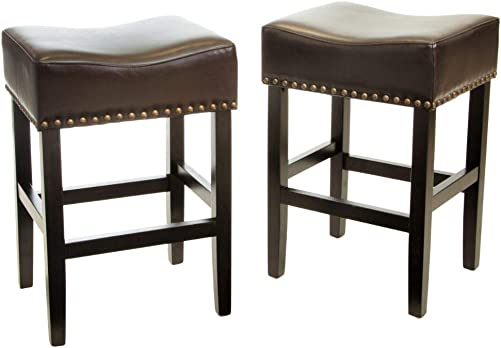 Christopher Knight Home Laramie Bonded Leather Backless Counterstools, 2-Pcs Set, Chocolate Brown