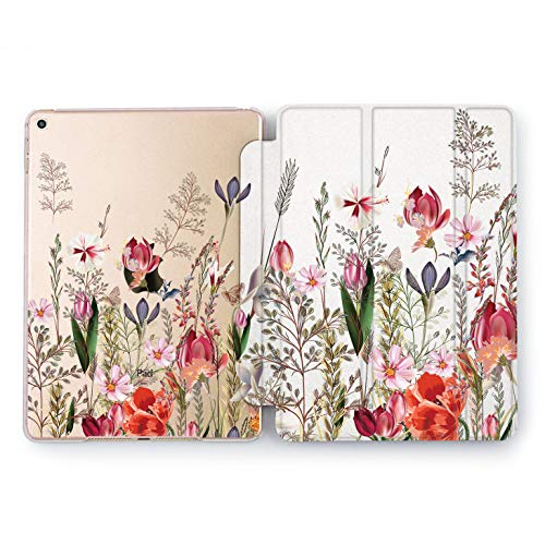 Wonder Wild Wildflowers Print iPad Mini 1 2 3 4 Air 2 Pro 10.5 12.9 Tablet 2018 2017 9.7 inch Fresh Cover Smart Stand Peony Seasons Flower Pretty Sweet Beautiful Tulips Print Leaves Clear Design ()