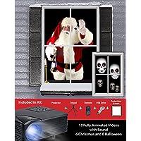 Kit de proyector de vacaciones virtual Mr. Christmas, negro