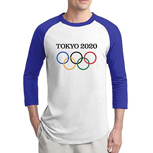 2020 Tokyo Games Mens Cool 100% Cotton 3/4 Sleeve Athletic Baseball Raglan Sleeves T-Shirt RoyalBlue US Size L