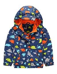 KISBINI Boys' Cartoon Dinosaur Fleece Zip Jackets Coats Hooded Windbreakers