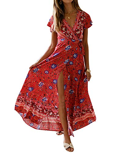 (Women's Dresses Summer Wrap V Neck Floral Boho Beach Split Maxi Dress Red)