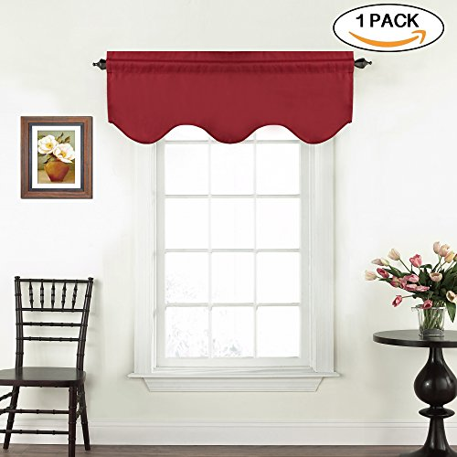 Room Darkening Kitchen Valances for Windows Rod Pocket Curtain Valances for Bathroom / Laundry, Blackout Valances Red (Pack 1, 52 inch by 18 (Red Window Treatment)