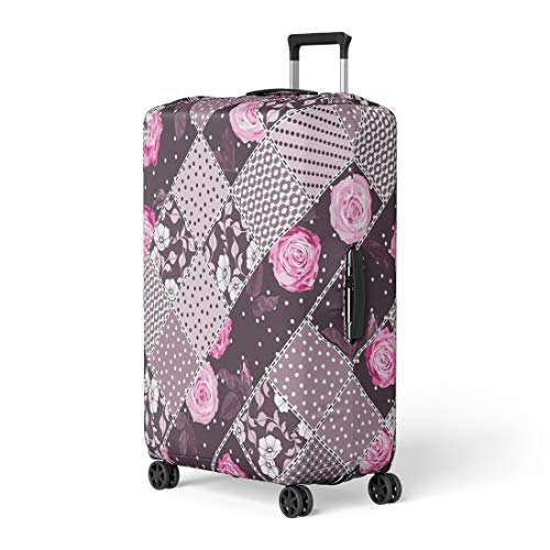 - Semtomn Luggage Cover Abstract Patchwork Pattern Floral Ornaments Flowers Dots Plants Travel Suitcase Cover Protector Baggage Case Fits 26-28 Inch