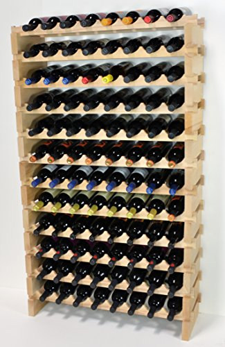 Modular Wine Rack Pine Wood 32-96 Bottle Capacity Storage 8 Bottles Across up to 12 Rows Stackable Newest Improved Model (96 Bottles - 12 Rows) by sfDisplay.com,LLC.