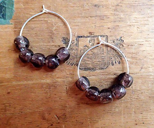 Stylish and Affordable Gift! WOMEN'S EARRINGS, Handmade, Original, Safe Silver Hoops, Deep Plum Glass Beads, Gift Bag Included!
