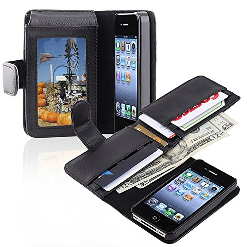 Insten Leather Case with Wallet for Apple iPhone 4/4S - Retail Packaging - Black