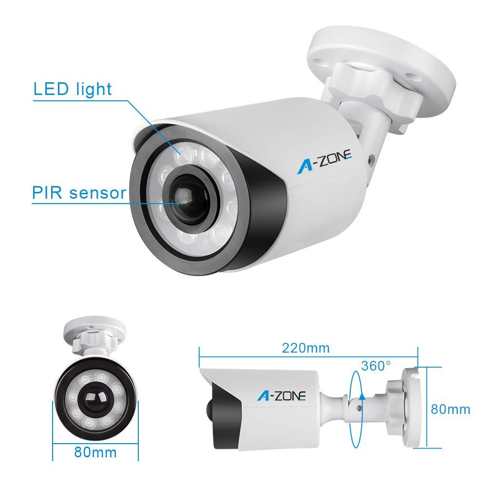 PIR Motion Sensor Light, A-ZONE Infrared Motion Sensor Outdoor Wall Mount LED Security Floodlight, White 6000K Waterproof Garden Wall Flood Light, Adjustable Head