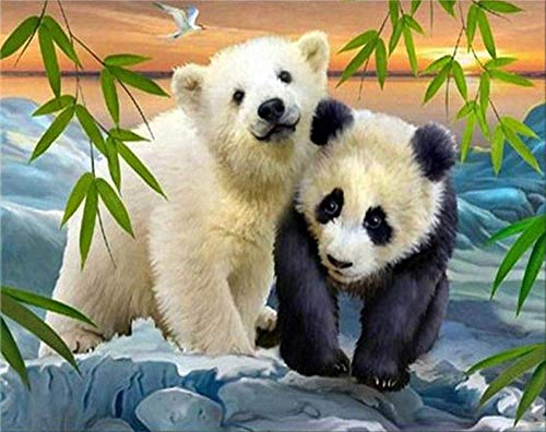 - DIY Oil Paint by Number Kit for Adults Beginner 16x20 Inch - Bear and Panda,Drawing with Brushes Christmas Decor Decorations Gifts (Framed)