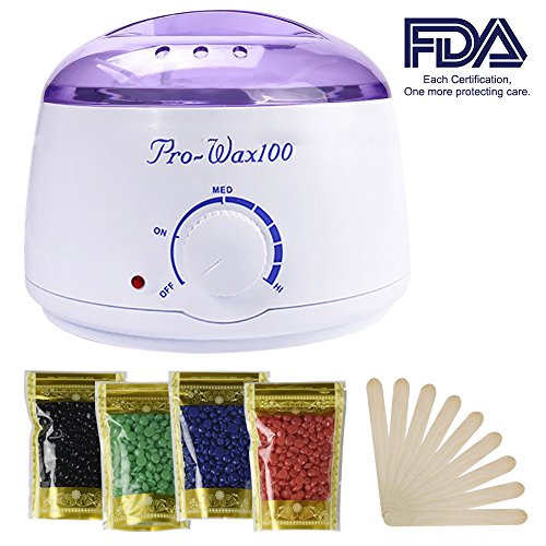 Wax Warmer, Portable Electric Hair Removal Kit for Facial &Bikini Area& Armpit-- Melting Pot Hot Wax Heater accessories Total Body Waxing Spa or Self-waxing Spa in Home For Girls & Women & Men Easy Waxing Spa