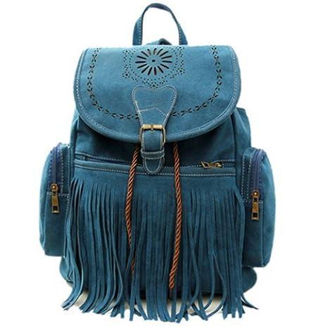 Amazon.com : Blue Tassel Bag Women Backpack Bag Bolsa ...