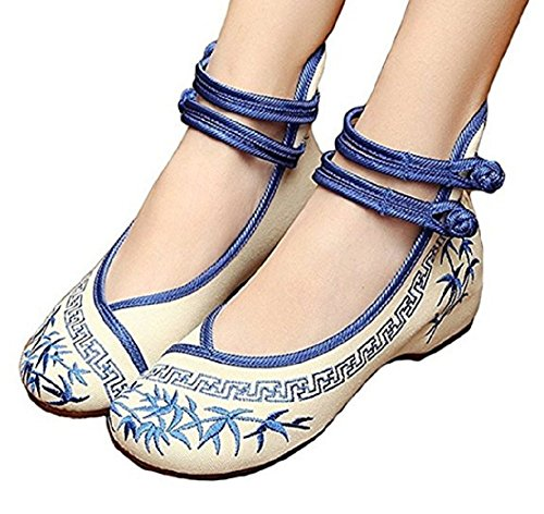 TIANRUI CROWN Women and ladies' The butterfly Embroidery Casual Mary chinese Jane Shoes chinese Mary cloth shoe B01N9455TN Shoes 185776