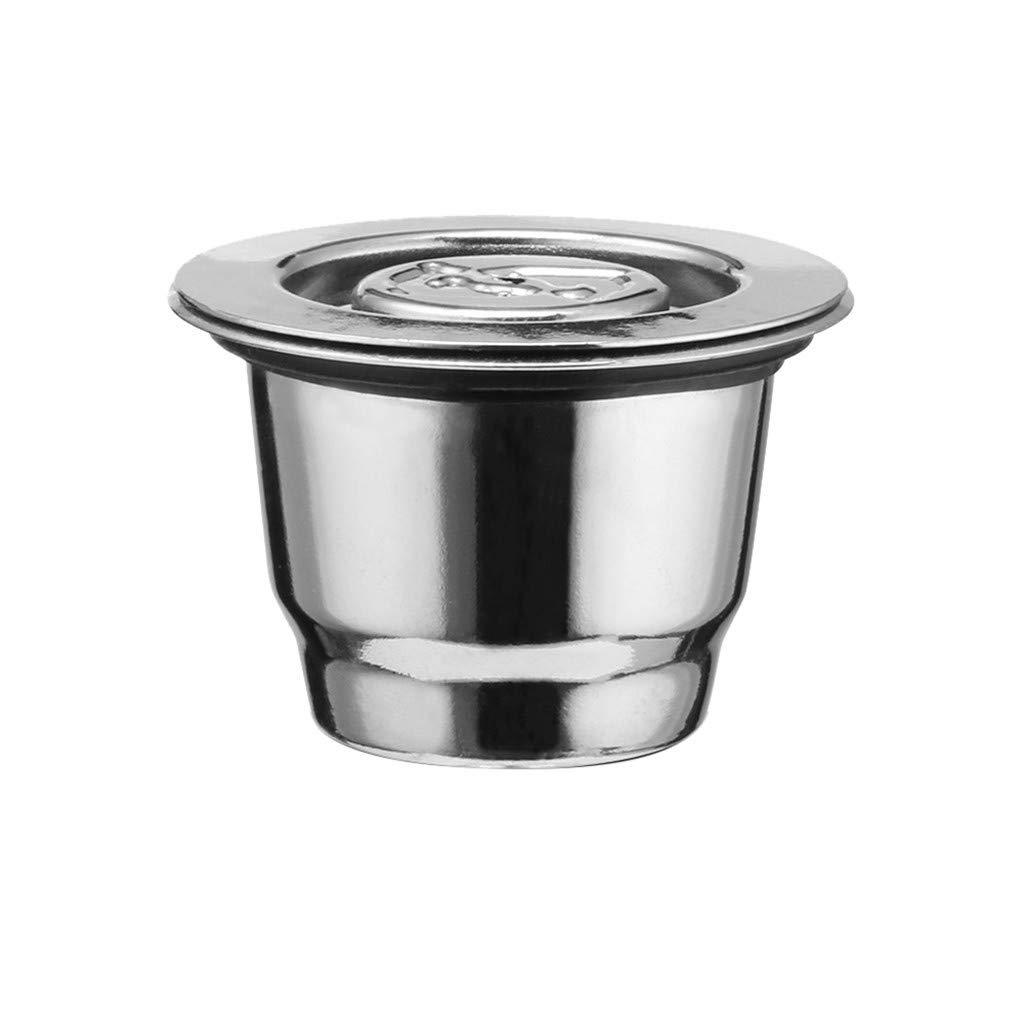 CMrtew ステンレススチール 再利用可能 コーヒーフィルター 詰め替え可能 ネスプレッソ コーヒーカプセル カップ ドリッパー ネスプレッソマシン コーヒーウェア キャップなし 5ml シルバー all B07M66PD1P シルバー 5ml