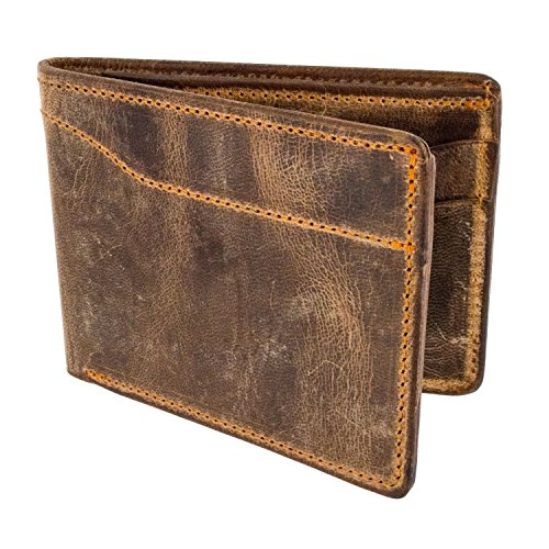 Hanks Bi-Fold Leather Wallet - Holds 8-13 Cards - USA Made, 100-Year Warranty - Vintage Brown