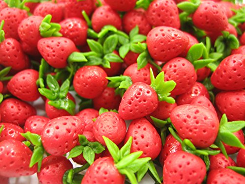 Lot 20 Loose Fresh Strawberry Dolls House Miniatures Food Fruit Supply 12781