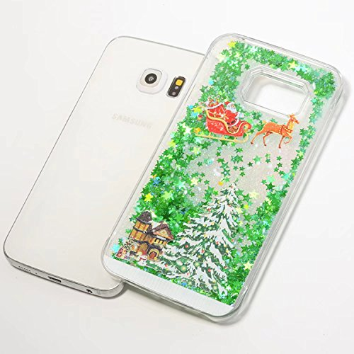 Funda Samsung Galaxy S6 Edge - 3D Diseño Creativo Lujo Brillo Flujo Adorable Movimiento Flotante Shiny Brillo Lentejuelas Bling Lindo Patrón Teléfono Carcasa para Samsung Galaxy S6 Edge - Papá Noel 10-G