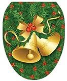 Toilet Tattoos TT-X611-O Christmas Bells Decorative Applique For Toilet Lid, Elongated