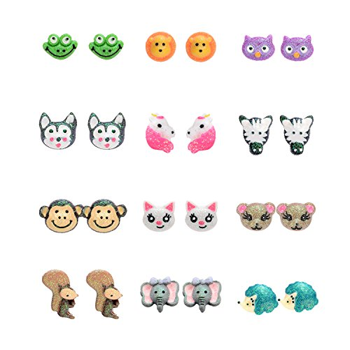 Multi Pairs Cute Animals Resin Studs Earring Set for Girls, Hypoallergenic (12 Pairs)