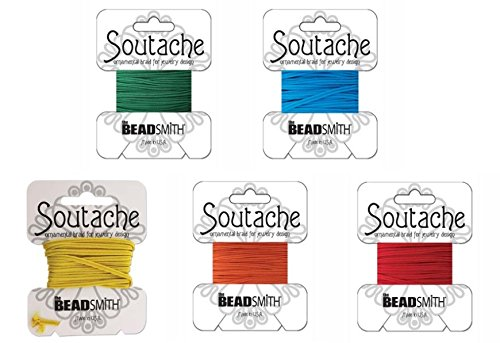 Beadsmith Soutache Braided Rayon Cord / Trim Bundle: 5 Colors, 3mm Wide, 3 Yds per color 'Circus ()
