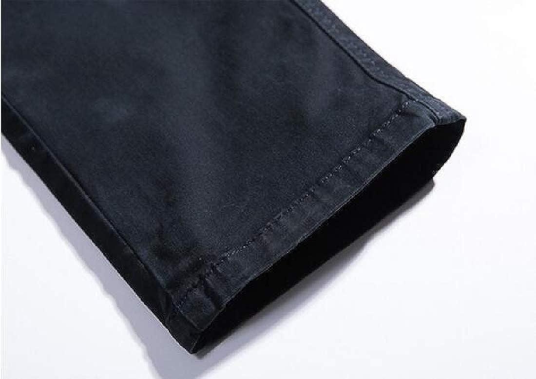 Suncolor8 Men Plain Straight Leg Casual Regular Fit Multi Pockets Cargo Pants