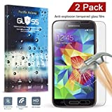 [2 PACK] Galaxy S5 Screen Protector, Pacific Asiana 0.3mm Slim HD Clear Ballistic S5 [Tempered Glass] Screen Protective Skin Cover with 9H Hardness/Anti-scratch/Anti-fingerprint [Lifetime Warranty]
