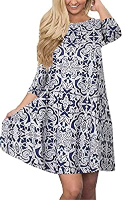 Tshirt Dresses for Women Boho Casual 3/4 Sleeve Floral Shift Pockets Swing Loose Damask