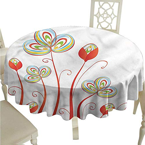 StarsART Round Tablecloth Vinyl Fitted Floral,Spring Petals Blooms Florets D50,for Wedding Reception Nave Blue