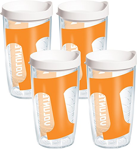 (Tervis 1093774 Tennessee Volunteers Colossal Tumbler with Wrap and White Lid 4 Pack 16oz, Clear)