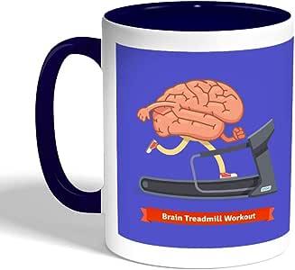 كوب سيراميك للقهوة بتصميم رياضي - نشط دماغك ، لون ازرق