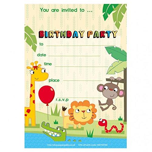 Premium Quality 20 Children's Birthday Party Invitations Safari/Jungle Animals Boys Girls Kids NO ENVELOPES Paper Gekko