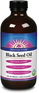 Heritage Store Black Seed Oil | 100% Pure Virgin, Organic, Cold Pressed, Unrefined | Supports Hair, Skin & More | 8 fl oz
