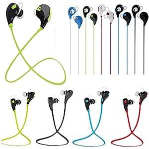 Theoutlettablet® Auriculares In-Ear conexión inalámbrica por Bluetooth HIFI Estéreo Dispone de Micrófono Manos Libres para Smartphone Verykool s5017Q Dorado COLOR VERDE (QY7