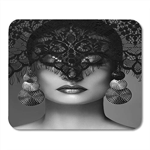 BGLKCS Luxury Woman with Celebrate Makeup Silver Earrings Black Dramatic Lace Veil Halloween Sexy Witch Look Mouse Pad 8.6 X 7.1 -