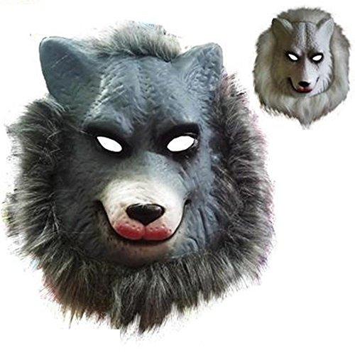 Mardi Gras Party Masquerade Mask,Animal mask Lion Tiger Wolf Orangutan Monkey Leopard Child Toy Wolf Prom Masks ()