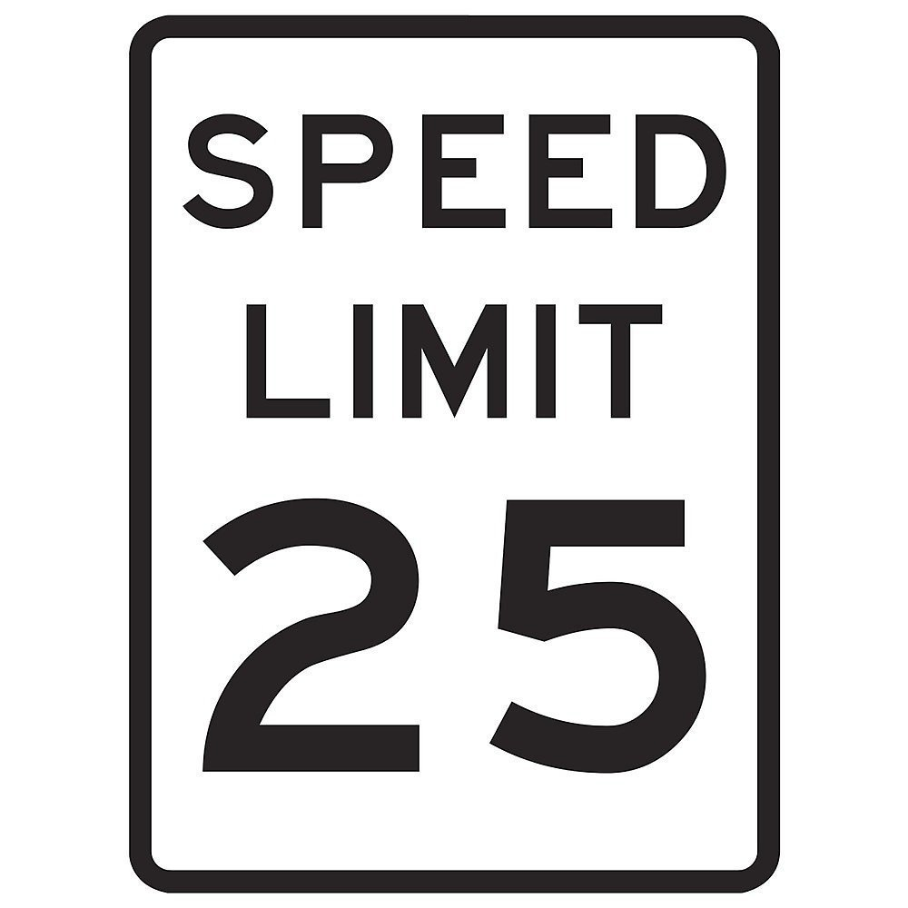 Tapco R2-1 Engineer Grade Prismatic Rectangular Lane Control Sign, Legend ''SPEED LIMIT 25'', 18'' Width x 24'' Height, Aluminum, Black on White