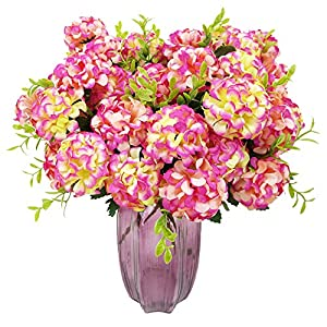 XONOR 3 Packs Artificial Silk Hydrangea Fake Bridal Bridesmaid Flower Bouquet for Wedding Party Home Decoration, 10 Head, 36cm (Rose Red) 26