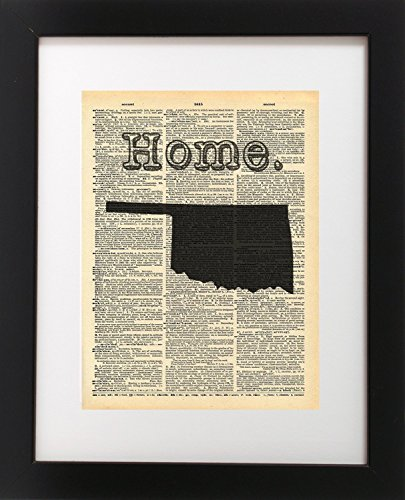 Oklahoma Vintage Map Vintage Dictionary Print 8X10 Inch Home Vintage Art Abstract Prints Wall Art For Home Decor Wall Decorations For Living Room Bedroom Office Ready To Frame