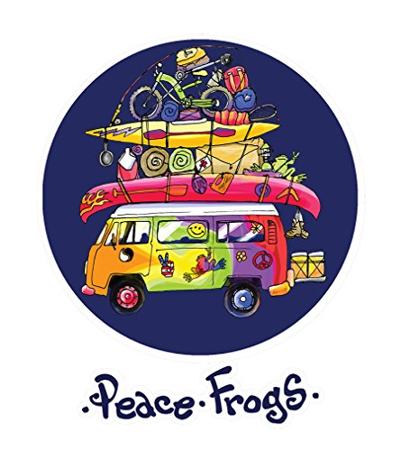 Enjoy It Peace Frogs Packed Bus Peace Frogs Car Sticker, Outdoor Rated Vinyl Sticker Decal for Windows, Bumpers, Laptops or Crafts -