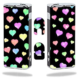 Eleaf iStick Vape E-Cig Mod Box Vinyl DECAL STICKER Skin Wrap / Love Hearts Pattern Background Red Purple Green Yellow Blue Pink