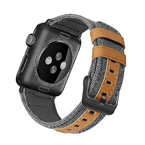 Jobese Compatible with Apple Watch Band 42mm/44mm 38mm/40mm, Classic Canvas Fabric Straps Black Buckle Genuine Leather Compatible with Apple Watch Series 4, Series 3/2/1 Sports ()