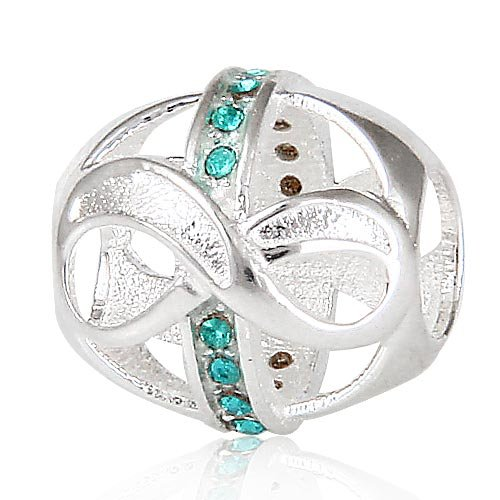 Everbling Infinity Love with Turquoise Austrian Crystal December Birthstone 925 Sterling Silver Charm Bead Fits Pandora Style Bracelets
