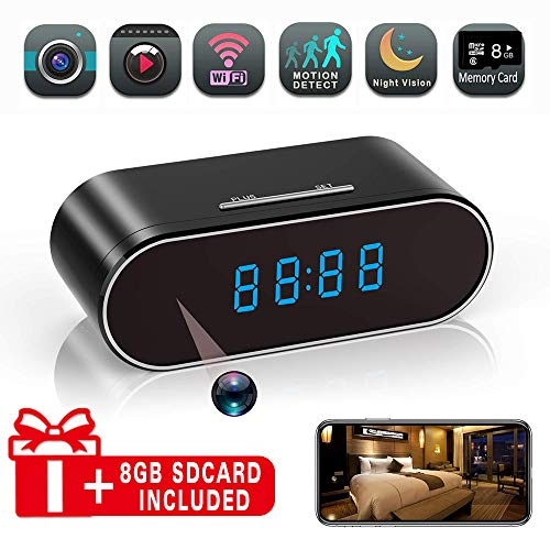 Hidden Spy Camera Alarm Clock, HD 1080P WiFi Nanny Cam,140?Angle Wireless IP Surveillance Camera with Night Vision/Motion Detection/Loop Recording for Indoor Home Office Security Monitoring