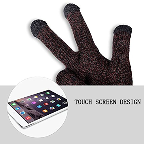 Winter Beanie Hat + Scarf + Touch Screen Gloves, Warm Unisex 3 Pieces Knit Cap Set for Men Women Christmas Gift New Year Gift (Dark Red) by Donsane (Image #2)