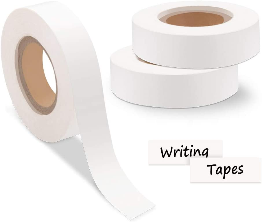 Airmall 1/2 Inch White Clean Remove Color Code Labeling Tape Paper Write-on Handwritten Adhesive Label Tape Console Tape Freezer Label Painter Tape, 1/2 Inch Width x 500 Inch Length, 3-Roll