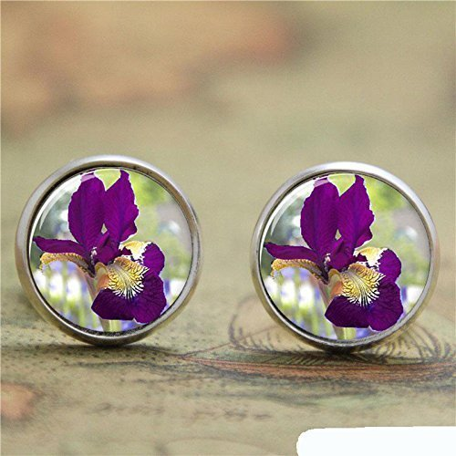 - Vintage Burgundy Iris Earrings Handmade Accessories-Silver Purple Flowers Glass Dome Picture Ear Ring-Jewellery for Women
