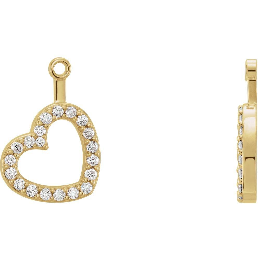 STU001- 14K Yellow 1/5 CTW Diamond Heart Earring Jackets