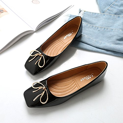 Women's thin shoes Square tie mouth shoes head Black sweet Flat Bow Shallow rwxArFUR
