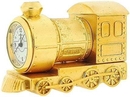 GTP Miniature Goldtone Metal Steam Engine Train Novelty Collectors Clock IMP79