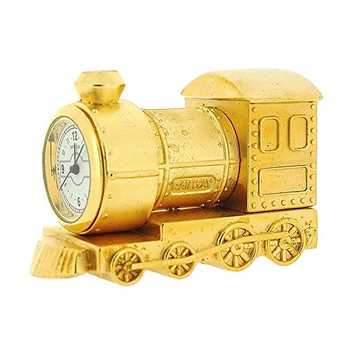 GTP Miniature Goldtone Metal Steam Engine Train Novelty Collectors Clock IMP79
