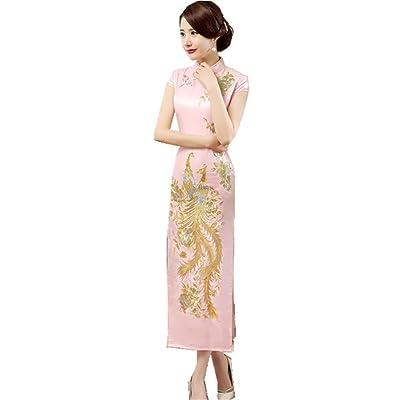 e31f933cb4e10 (上海物語) Shanghai Story 鳳凰 花 刺繍 半袖 カラー マキシ丈 ロング チャイナ ドレス(レディース、女性用 チーパオ 中華風  中国 パーティー ワンピース 伝統服